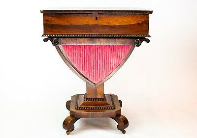 💝 1830 Rosewood Work Table Pink Antique English William IV Sewing Box Knitting