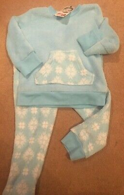Girls Pyjama Set Snowflake Soft Fleece Cosy PJs Blue Age 3-4 Years Warm & Snug