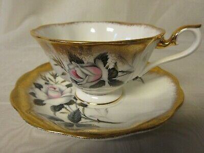 ROYAL ALBERT Bone China Fancy Avon Wide Mouth Teacup & Saucer Heavy Gold w Rose