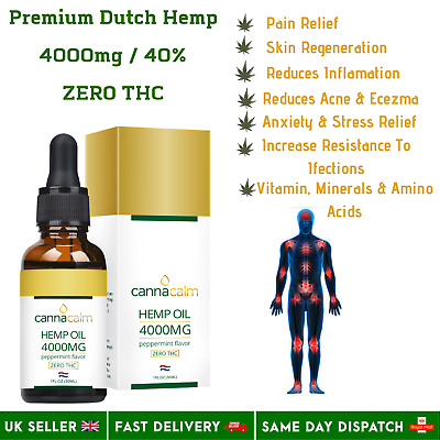 Organic Hemp Oil Premium Strength 30ml 4000mg 40% Sealed UK Seller 1st Class