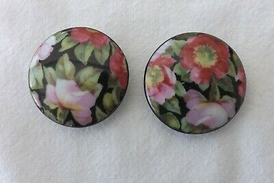 Two Antique Hand Painted China Buttons Floral Studies 4Cms (1312)
