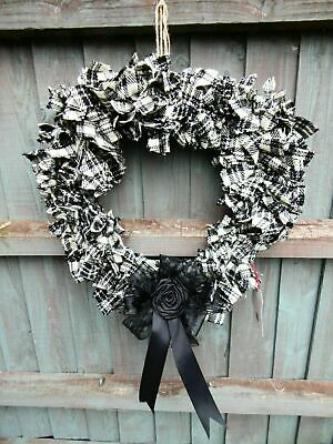 "Stunning Huge 18"" Black & White Tartan HEART HARRIS TWEED Wreath Bow Handmade"