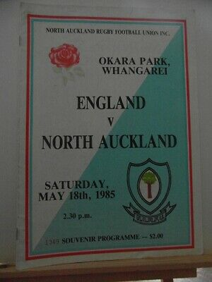 1985 NORTH AUCKLAND  V ENGLAND   rugby union programme