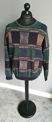 """Vintage BAFFO 1980s Knitted Grandad Jumper 56"""" XL Large 50% Laine Pure Wool"""