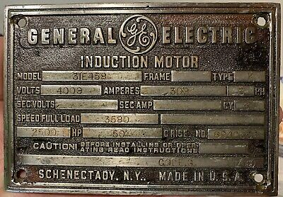 GE GENERAL ELECTRIC Induction Motor Advertising Nameplate Sign Schenectady NY