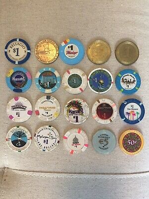 Lot of 20 Casino Chips - Las Vegas Hilton, Trump Taj, Venice, and many more!