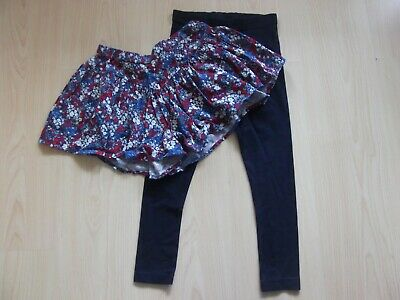 Girls Navy Leggings With A Flowered Skort. Aged 7 Years. From Next.