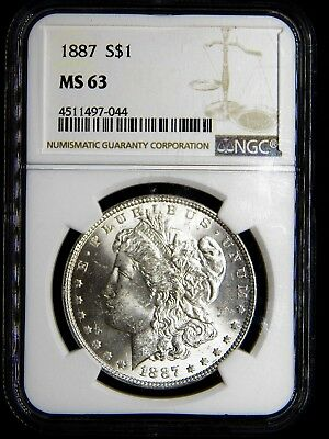 #2 ~1887-P MORGAN SILVER DOLLAR- NGC MS63 Graded~ GEM BRIGHT UNCIRCULATED COIN.