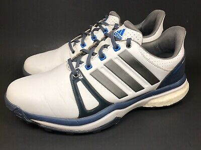 Adidas Mens Adipower Boost 2 White Blue Golf Shoes Size US 8.5 UK 8 FR 42