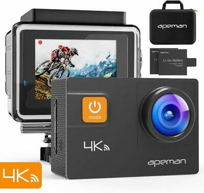 APEMAN Action Camera 4K 20MP Wifi Sports Underwater 40M with EIS 24 Mounting Kit