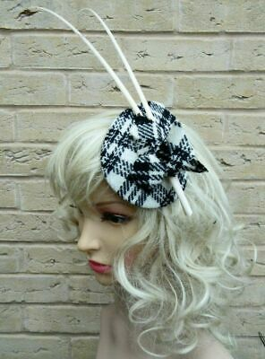 Stunning Black & White HARRIS TWEED Tartan Fascinator Country Feathers (HT1)