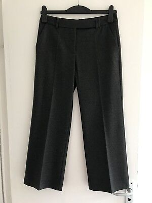 Lovely Ladies Zara Charcoal Grey 3/4 Length Crop Tailored Trousers - Size Small