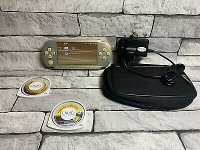 PSP Playstation Portable console 1000 Gold Special Edition power supply 2 GAMES