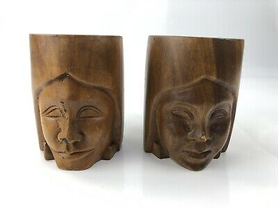 Vintage Hand Carved Native American Philippines Head Male Female Wood Mugs Cups