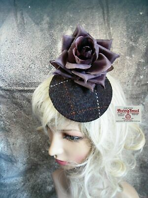 Stunning Dark Brown HARRIS TWEED Fascinator Country Flowers Roses (E)