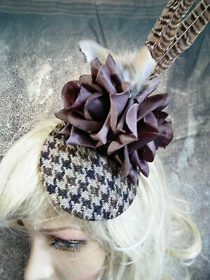 Stunning Brown Hound Tooth HARRIS TWEED Fascinator Country Roses (E)