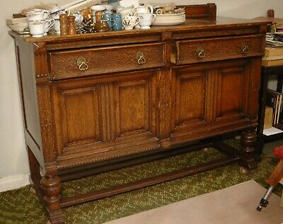 Large Carved Oak antique sideboard adapted to be on castors ED1210