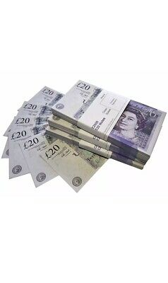 20x 20 Notes Realistic UK Pounds Prop Money British some SIZE! - Fast shiping