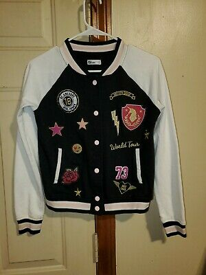 "Epic Threads Girls Letterman Style Jacket ""Unicorn Squad"" Pink Black White"
