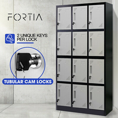 Baumr-AG 12-Door Gym Lockers Steel Locker Storage Office Metal Cabinet Black