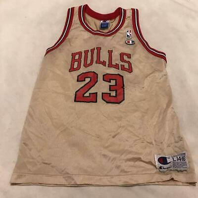 Vintage Michael Jordan Chicago Bulls Gold Champion Jersey Youth Large 14-16