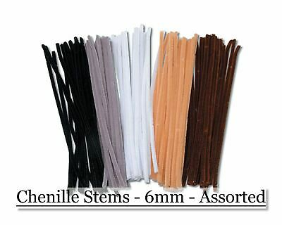 Chenille Stems - 6mm - Assorted Animal Colors