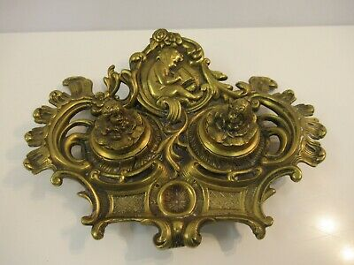 Victorian Brass Double Inkwell Footed 19th Century Ornate Cherubs Cupid