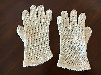 "GLOVES PAIR Hand Crochet Ladies Vintage White 100% Cotton 7"" long"
