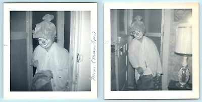 2 Creepy Halloween Snapshots - Ghoulish Pig Masked Woman Enters - Vtg Photo - V