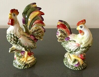 Fitz And Floyd Salt & Pepper Shakers Rooster And Hen Vista Bella New In Box