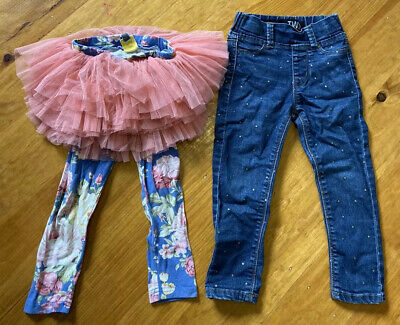 Size 2 Girls Bundle Rock Your Kid Tulle Leggings Cotton On Jeggings Gold Spot