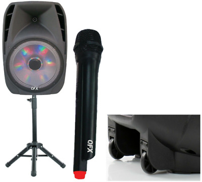 """15"""" Portable Bluetooth Loud Speaker W/ Stand & Wireless Microphone 5-Band 7500W"""
