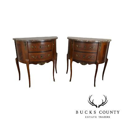 French Vintage Pair Demilune Inlaid Walnut Marble Top Pair Commodes/Nightstands