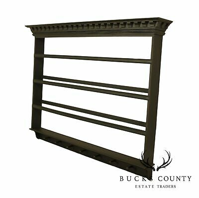 Country Painted Wall Shelf with Hooks
