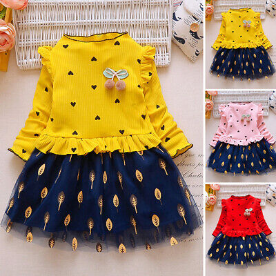Kids Girls Long Sleeve Mini Dress Princess Dresses Casual Ruffled Party Outfits