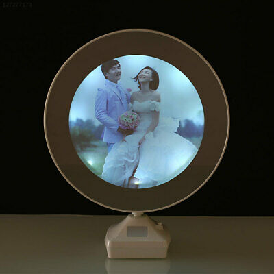 7D82 Magic Mirror LED Light Photo Frame Cosmetic Mirror Plastic Electronic Table