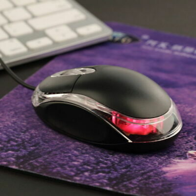 Wired USB Optical Mouse For Laptop Computer PC Scroll Wheel 3D Led Mice Black UK
