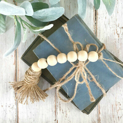 Nordic Retro Wooden Beads Tassels Hanging Ornament Bedroom Home DIY Wall Decor