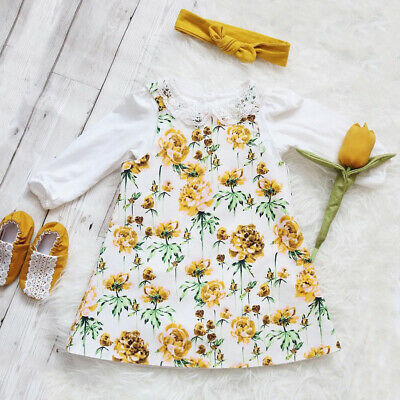 Christmas Toddler Baby Girls Floral Dress Long Sleeve Lace Top Headband Outfits