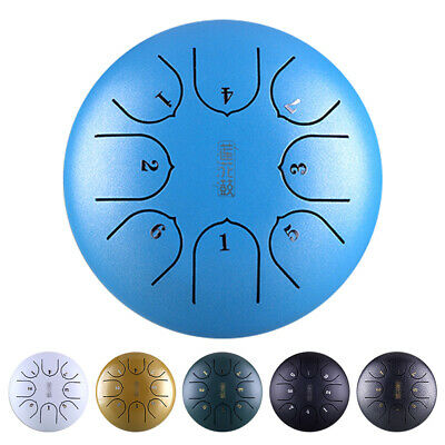 6'' Steel Tongue Drum Handpan G Tune 8 Notes Hand Tankdrum+Free Gift Bag Mallets
