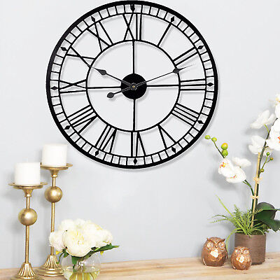 Large Black 88cm Roman Round Wall Clock Skeleton Numeral Metal Diamond Garden