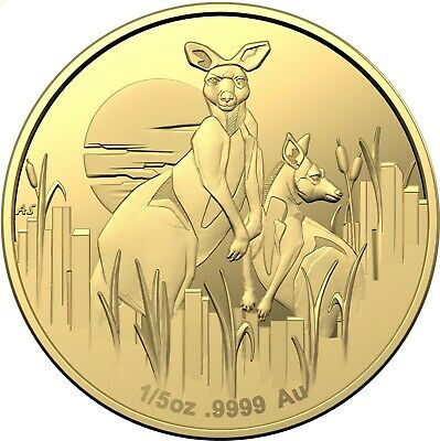 """Kangaroos at Dawn,"" new 1/5-ounce Proof gold coin 2020"