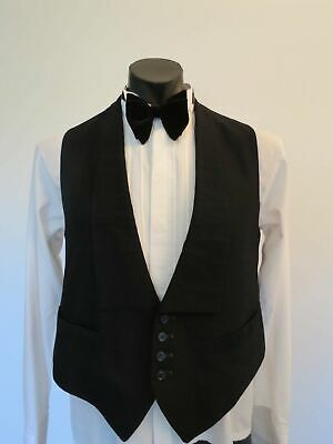 Formal Black Wool Waistcoat With Square Collar - 1930s-1940s - Large