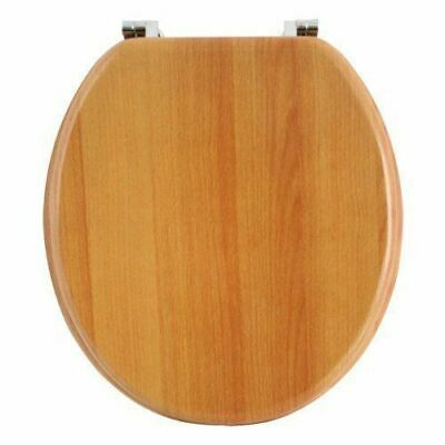 New Universal Heavy Duty Wooden Mdf Toilet Seat With Chrome Hinge Anti Bacterial