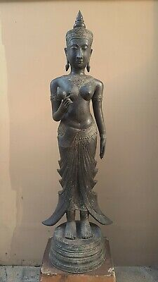 ANTIQUE BRONZE STATUE OF A FEMALE DEVATA, AYUTTHAYA. KHMER INFLUENCE. 19/20th C.