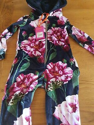 Ted Baker Girls Navy Floral Velour  pyjamas  Age 2-3 years New