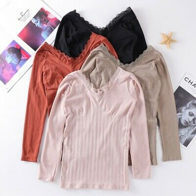 Autumn Winter Base T-shirt Lace Side V-neck Seamless Body Thermal Underwear Top