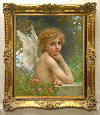 """Hand-painted Old Master-Art Oil painting nude Small angel on Canvas 24""""X30"""""""