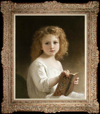 "Hand-painted Old Master-Art Oil painting Portrait Small girl on Canvas 20""X24"""