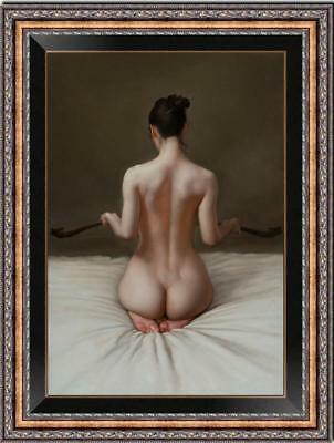 Hand painted Original Oil painting art Portrait Chinese nude girl on Canvas